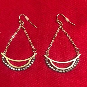 Earrings - gold metal with gray shimmer beads